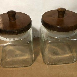 Vintage Glass Wood Canisters set of 2